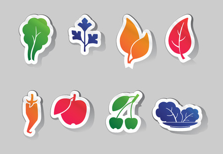 designation: Vector Illustration of leaves and fruit icons
