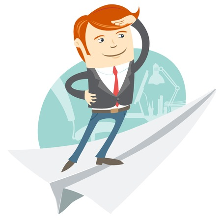 looking ahead: Vector Illustration of  Office man flying on paper plane