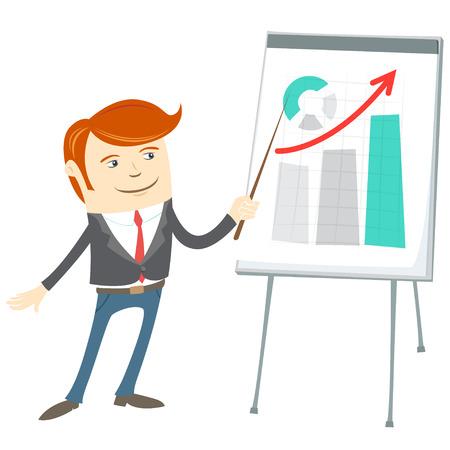 flipchart: Vector Illustration of  Office man presentating a graph on flipchart