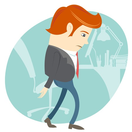 Vector Illustration of  Sad Office man in front of his working place