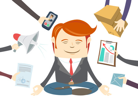 workday: Vector Illustration of  Office man meditating in the middle of busy workday