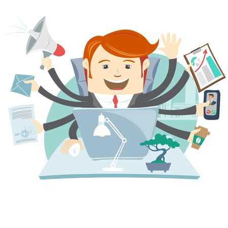 Vector Illustration of Very busy office man working hard by eight hands Illustration
