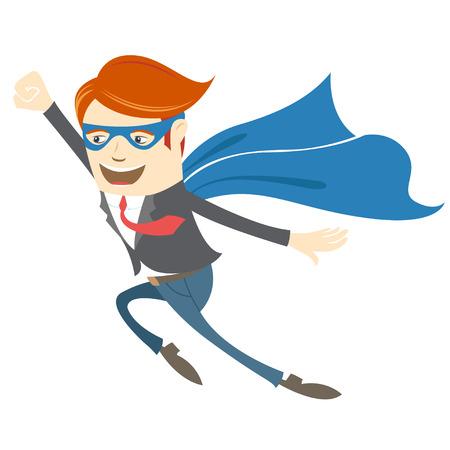Vector Illustration of  Office superman flying Vector