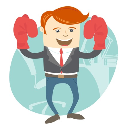 champ: Vector Illustration of  Office man wearing boxing gloves in front of his working place