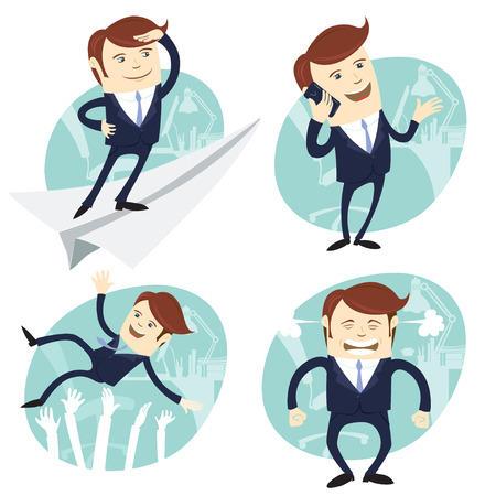 Vector Illustration Set of office man: Office man flying an looking to the future, salesman speaking phone, happy white collar throwing up by his team, angry boss shaking his fists Vector