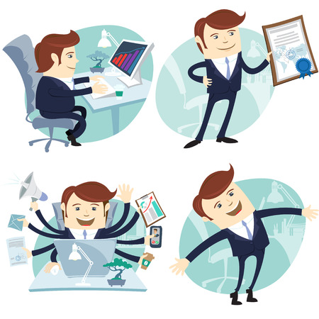 Vector Illustration Office man set: showing a diploma, Happy worker, busy white collar working hard by eight hands, sitting at his desk Vettoriali