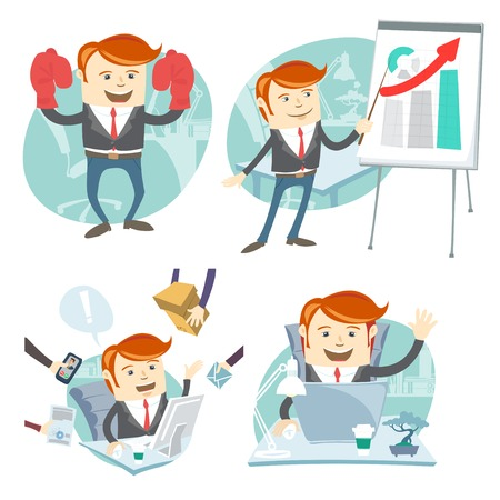 superman: Vector Illustration Office man hipster set: showing a presentation, Happy worker at his desk, busy white collar working hard , superman with gloves
