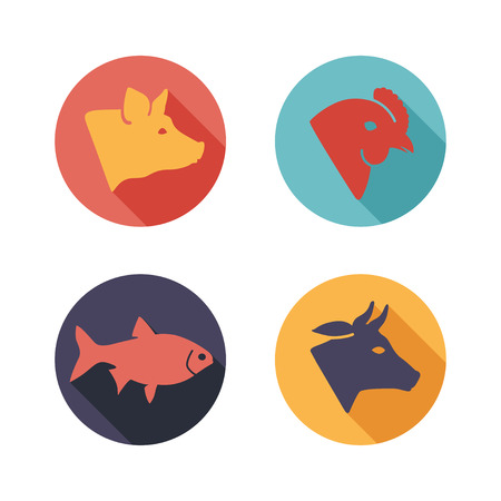 Vector illustration Meat animals icons. Flat style