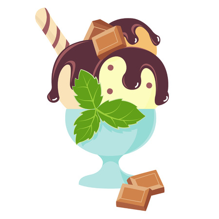 topping: Vector Illustration Icon of Chocilate ice-cream with waffle, topping and menthol in cup