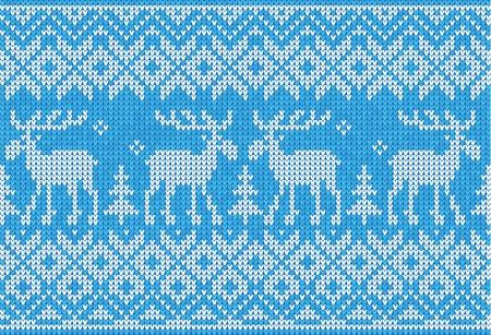 鹿と北欧スタイルのシームレスなニット パターンのベクトル イラスト  イラスト・ベクター素材