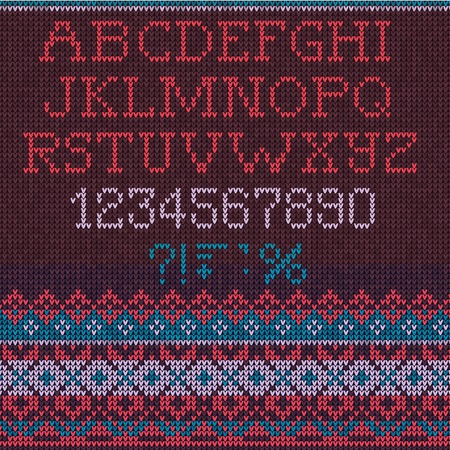Vector Illustration of  Christmas Font: Scandinavian style seamless knitted.  Colors: vinous,violet; purple, blue, pink Vector