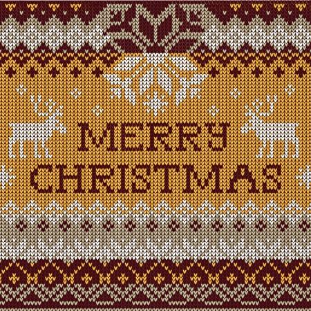 scandinavian christmas: Vector Illustration of Merry Christmas: Scandinavian style seamless knitted pattern