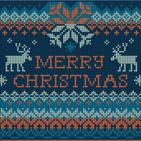 scandinavian christmas: Vector Illustration Merry Christmas: Scandinavian style seamless knitted pattern with deers