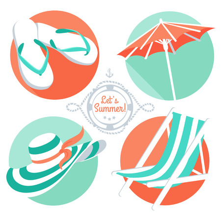 chaise longue: Vector Illustration Summer icons: flip floppers, hat, beach umbrella and chair