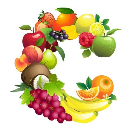 Ilustracja wektorowa Litera C składa się z różnych owoców z liśćmi