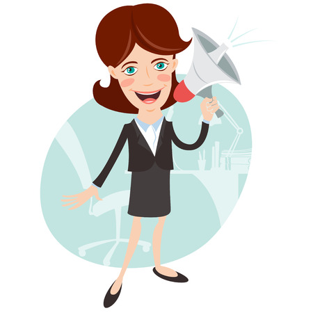 shouting: Vector Illustration of Office woman megaphone shouting. Flat style
