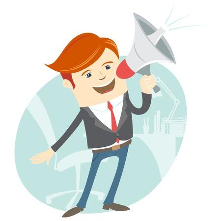 Vector Illustratie van Office man megafoon schreeuwen in de voorkant van zijn werkplek Stock Illustratie