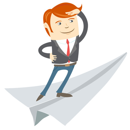 looking ahead: Vector Illustration of Office man flying on paper plane Illustration