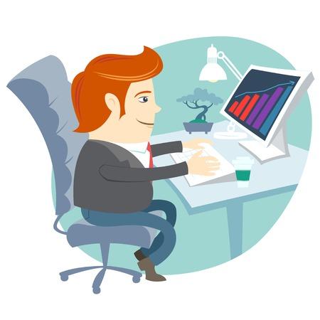 Vector Illustratie van Office man zit aan zijn bureau