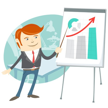 Vector Illustration of  Office man presentating a graph on flipchart