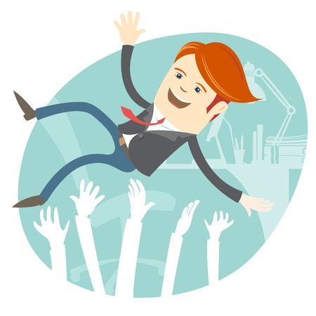 raise the thumb: Vector Illustration of Successful businessman being throwing up by his colleague. Illustration