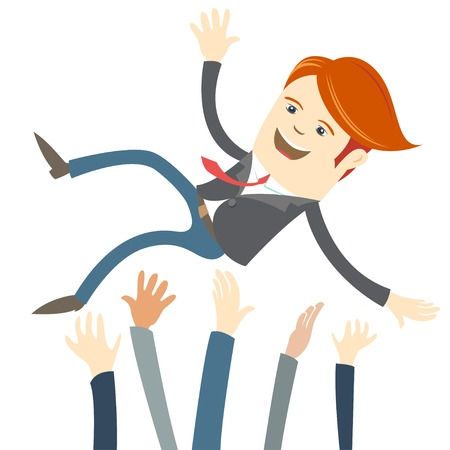 throw up: Vector Illustration of  Successful businessman being throwing up by his colleague.