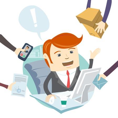 Vector Illustratie van Zeer drukke kantoor man hard aan het werk
