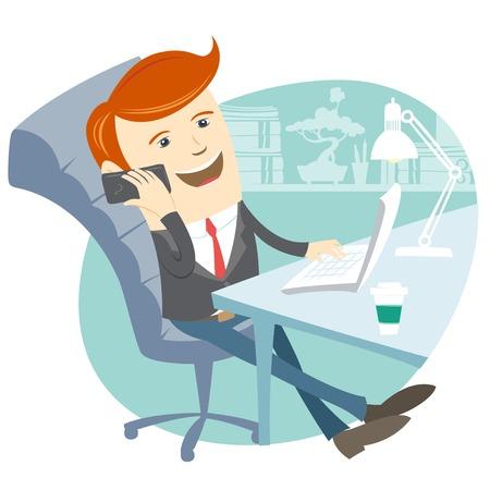 Vector Illustratie van Office man zit aan zijn bureau met telefoon