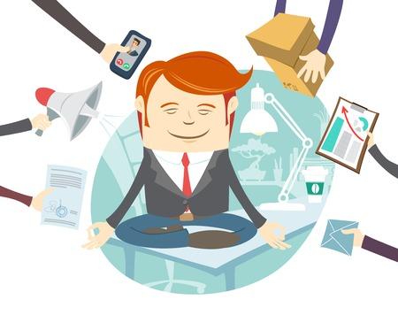 Vector Illustratie van Office man mediteren in het midden van drukke werkdag