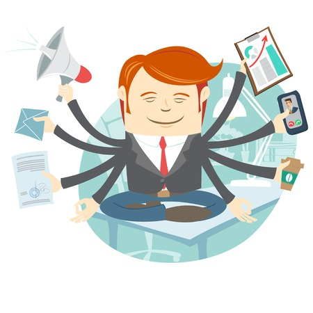 Vector Illustration of Office man with eight hands meditating in the middle of busy workday Vector