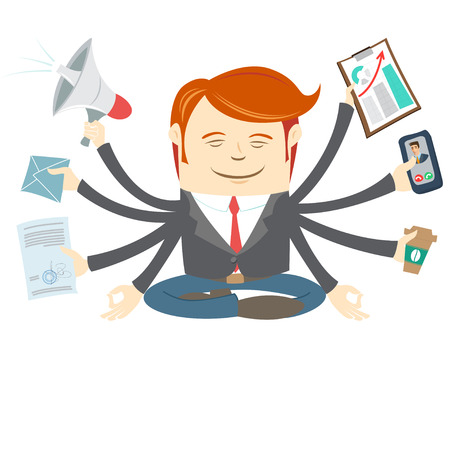 workday: Vector Illustration of  Office man with eight hands meditating in the middle of busy workday