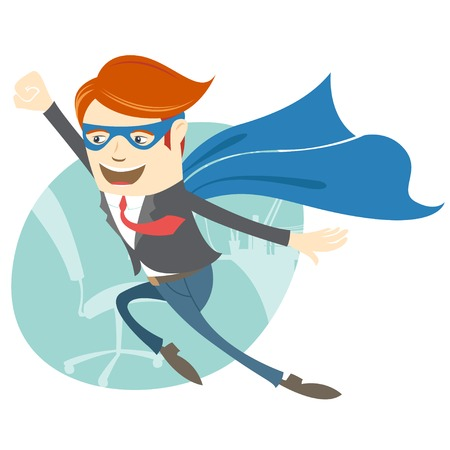 Vector Illustration of  Office superman flying in front of his working place