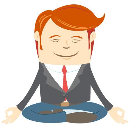 man meditating: Vector Illustration of Office man meditating