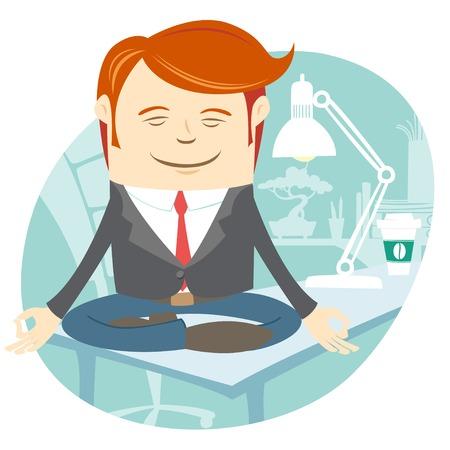 man meditating: Vector Illustration of  Office man meditating on his working desk