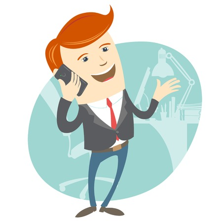 Vector Illustration of Office man phone talking in front of his working place Vector