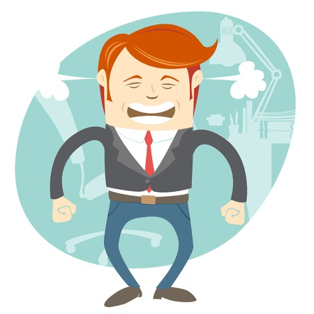 Vector Illustration of  Angry office man in front of his working place Vector