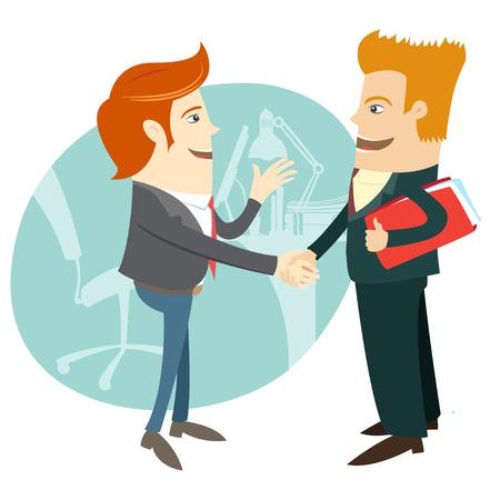 Vector illustratie Business handdruk en zakenmensen infront hun kantoor. Vlakke stijl