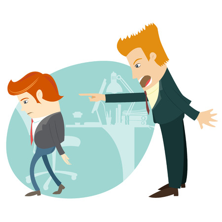 dismiss: Vector illustration Angry businessman sitting screaming and pointing on the manager at their office. Flat style Illustration