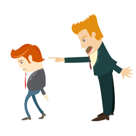 Vector illustration Angry businessman screaming and pointing on the manager. Flat style