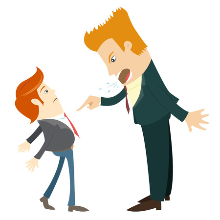 Vector illustration Angry businessman screaming and pointing on the manager. Flat style Vector