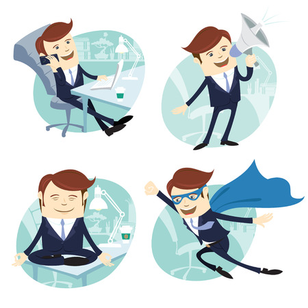 Vector Illustration Office man set: flying super man wearing blue mackintosh, sitting on his desk and doing yoga, phone talking at coffee break, speaking with megaphone