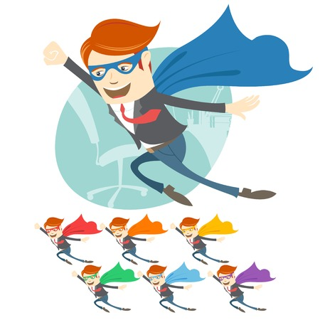 Vector Illustration of  Vector Illustration of Office superman flying in front of his working place.  Color variation