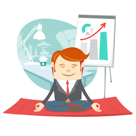 Vector illustration Office hipster man doing yoga pose lotus (meditating) near his workplace
