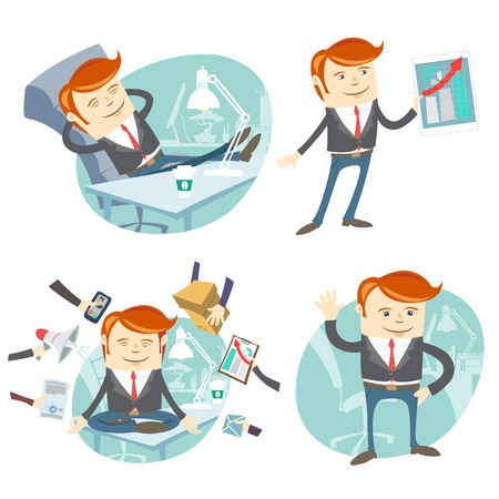 Vector Illustration Set of hipster officemen: lazy worker foot on desk, salesmanager with device, busy multitasking man, waving ofice white collar Vector