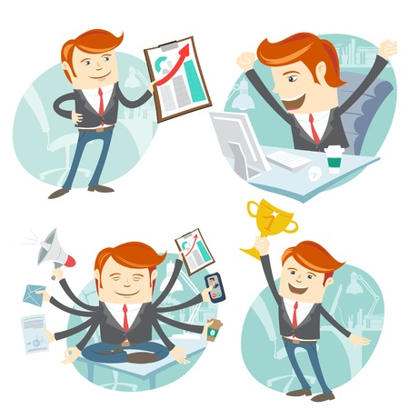 cartoon businessman: Vector Illustration Office man hipster set: showing a graph, Happy worker at his desk, busy yoga white collar working hard by eight hands, winner with first place golden cup