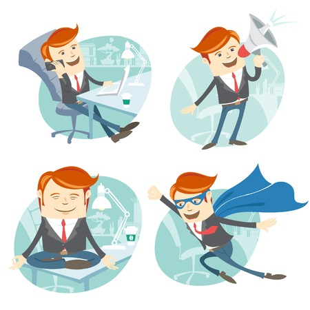 Vector Illustration Office man hipster set: flying super man wearing blue mackintosh, sitting on his desk and doing yoga, phone talking at coffee break, speaking with megaphone