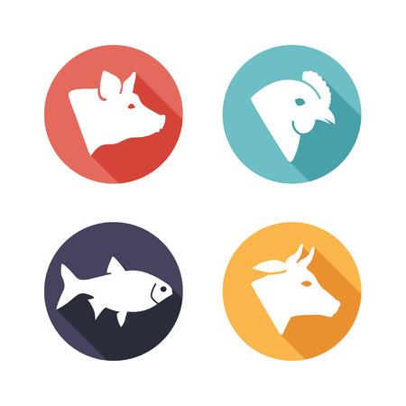 Vector illustratie Vlees dieren pictogrammen. Vlakke stijl