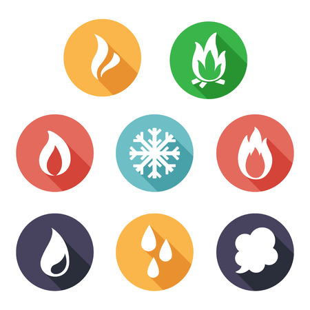 fire vector: Vector illustration Fire, freeze, steam, water icons. Flat style Illustration