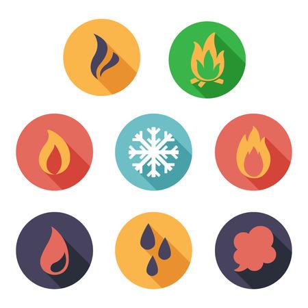 raffreddore: Illustrazione vettoriale Fuoco, congelare, vapore, acqua icone. Stile piatto