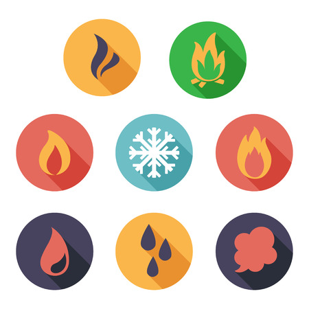 flame: Vector illustration Fire, freeze, steam, water icons. Flat style Illustration